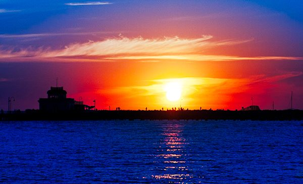 Boat against sunest